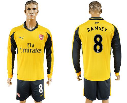 Arsenal #8 Ramsey Away Long Sleeves Soccer Club Jersey