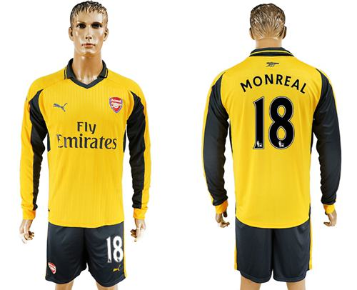 Arsenal #18 Monreal Away Long Sleeves Soccer Club Jersey