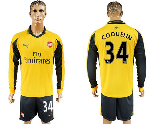 Arsenal #34 Coquelin Away Long Sleeves Soccer Club Jersey