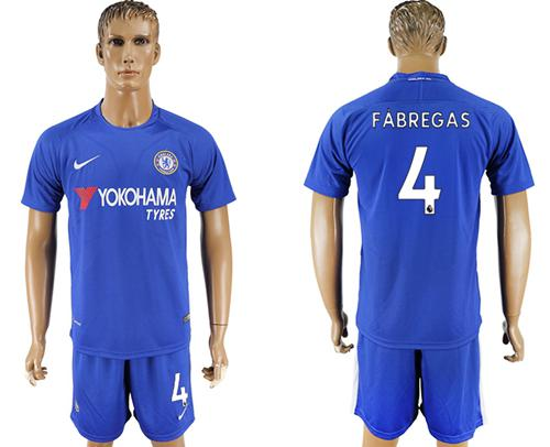 Chelsea #4 Fabregas Home Soccer Club Jersey