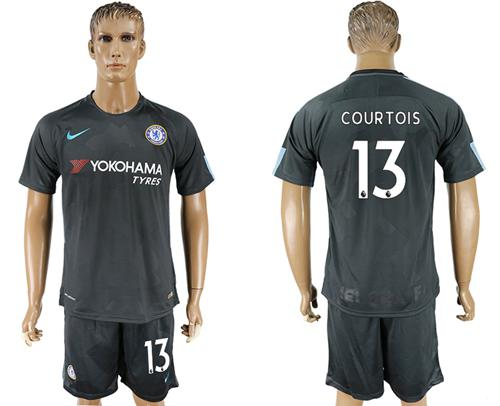 Chelsea #13 Courtois Black Soccer Club Jersey