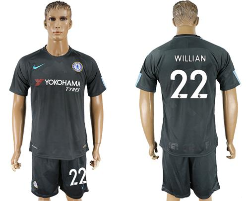 Chelsea #22 Willian Black Soccer Club Jersey