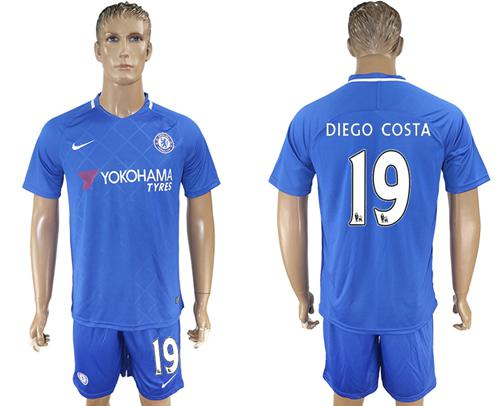 Chelsea #19 Diego Costa Home Soccer Club Jersey