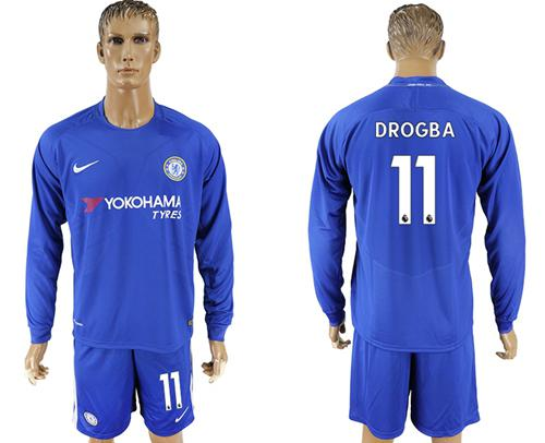 Chelsea #11 Drogba Home Long Sleeves Soccer Club Jersey