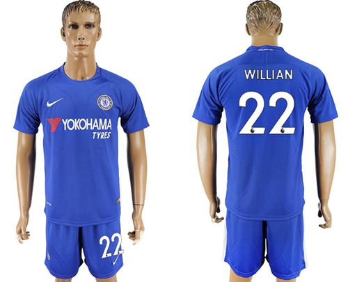 Chelsea #22 Willian Home Soccer Club Jersey