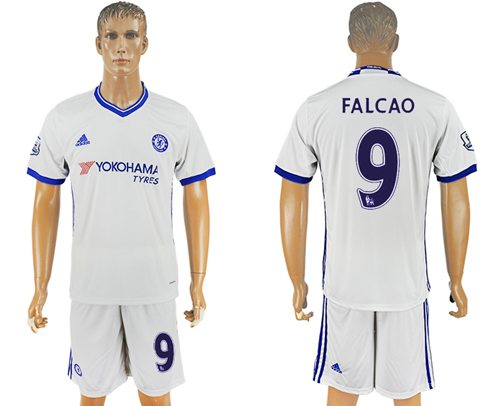 Chelsea #9 Falcao White Soccer Club Jersey