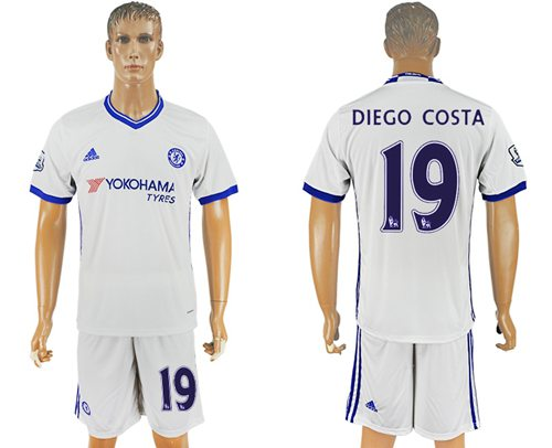 Chelsea #19 Diego Costa White Soccer Club Jersey