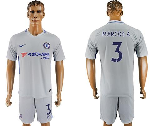 Chelsea #3 Marcos A. Sec Away Soccer Club Jersey