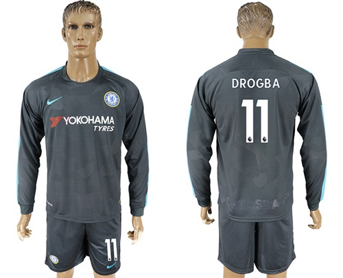 Chelsea #11 Drogba Sec Away Long Sleeves Soccer Club Jersey