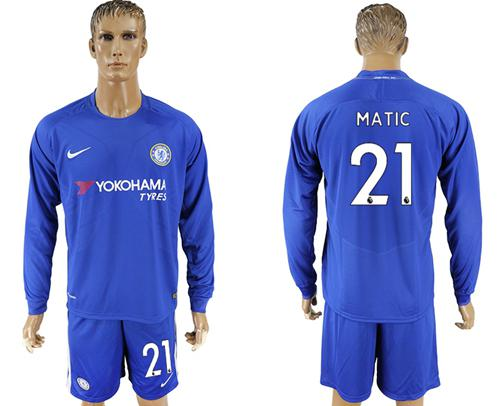 Chelsea #21 Matic Home Long Sleeves Soccer Club Jersey