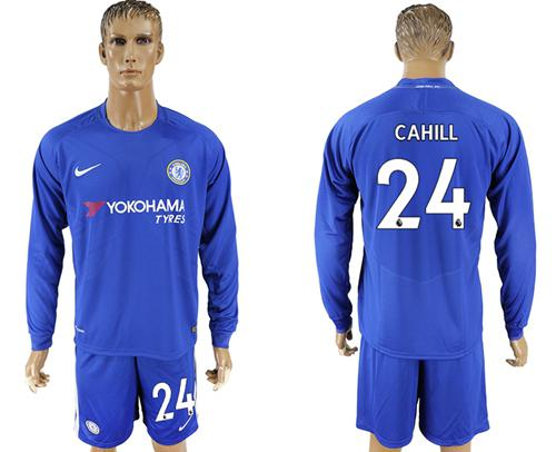 Chelsea #24 Cahill Home Long Sleeves Soccer Club Jersey