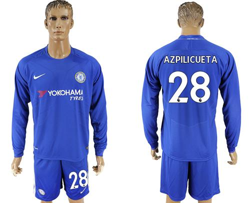 Chelsea #28 Azpilicueta Home Long Sleeves Soccer Club Jersey