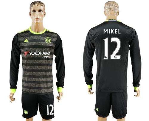 Chelsea #12 Mikel Sec Away Long Sleeves Soccer Club Jersey