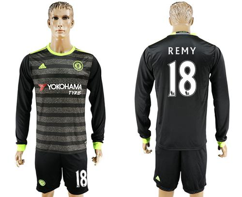 Chelsea #18 Remy Sec Away Long Sleeves Soccer Club Jersey