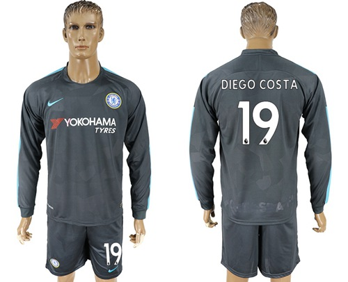 Chelsea #19 Diego Costa Sec Away Long Sleeves Soccer Club Jersey