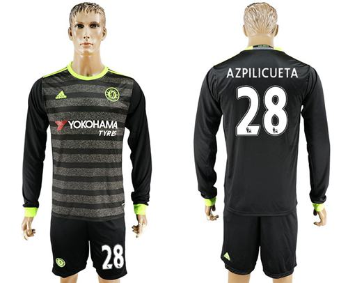 Chelsea #28 Azpilicueta Sec Away Long Sleeves Soccer Club Jersey