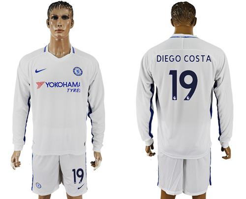 Chelsea #19 Diego Costa Away Long Sleeves Soccer Club Jersey