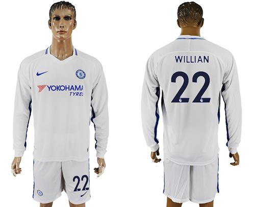 Chelsea #22 Willian Away Long Sleeves Soccer Club Jersey