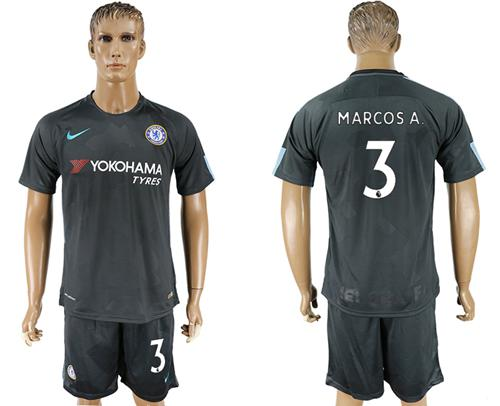 Chelsea #3 Marcos A. Black Soccer Club Jersey