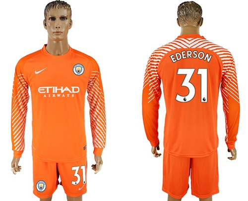 Manchester City #31 Ederson Orange Goalkeeper Long Sleeves Soccer Club Jersey