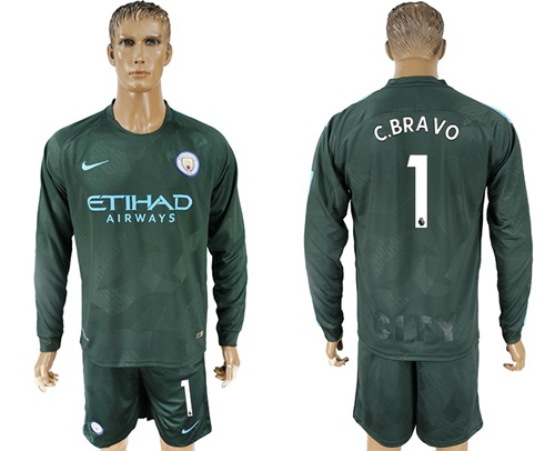 Manchester City #1 C.Bravo Sec Away Long Sleeves Soccer Club Jersey