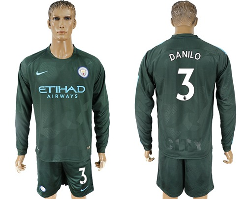 Manchester City #3 Danilo Sec Away Long Sleeves Soccer Club Jersey