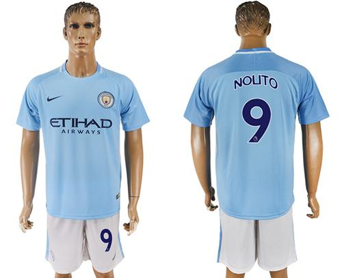 Manchester City #9 Nouto Home Soccer Club Jersey