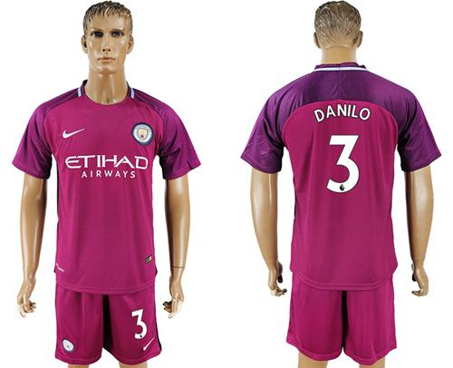 Manchester City #3 Danilo Away Soccer Club Jersey