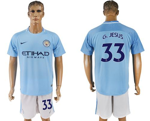 Manchester City #33 G.Jesus Home Soccer Club Jersey