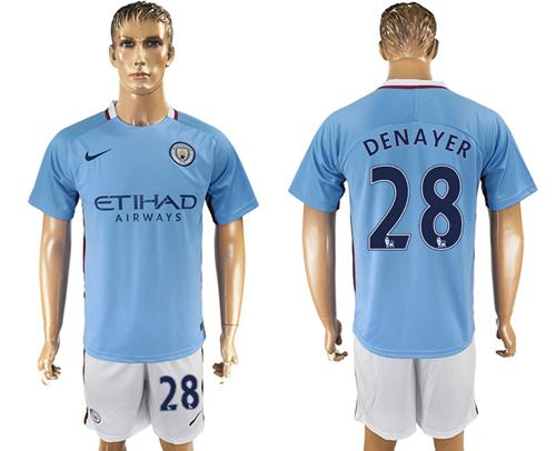 Manchester City #28 Denayer Home Soccer Club Jersey