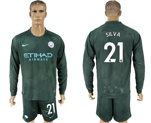 Manchester City #21 Silva Sec Away Long Sleeves Soccer Club Jersey