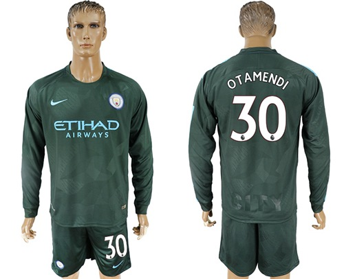 Manchester City #30 Otamendi Sec Away Long Sleeves Soccer Club Jersey