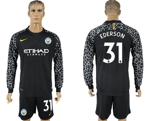 Manchester City #31 Ederson Black Goalkeeper Long Sleeves Soccer Club Jersey