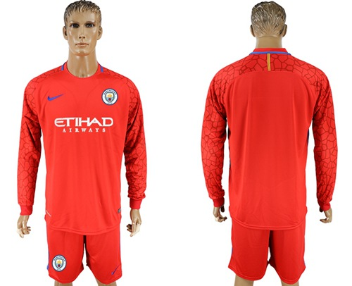 Manchester City Blank Red Goalkeeper Long Sleeves Soccer Club Jersey