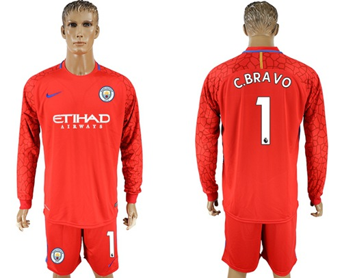 Manchester City #1 C.Bravo Red Goalkeeper Long Sleeves Soccer Club Jersey