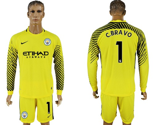Manchester City #1 C.Bravo Yellow Goalkeeper Long Sleeves Soccer Club Jersey