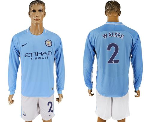 Manchester City #2 Walker Home Long Sleeves Soccer Club Jersey