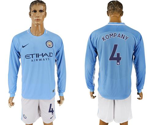 Manchester City #4 Company Home Long Sleeves Soccer Club Jersey