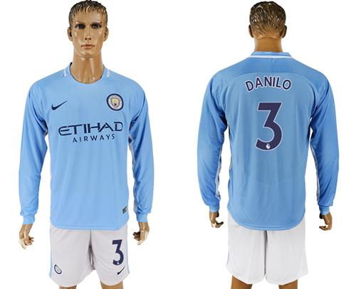 Manchester City #3 Danilo Home Long Sleeves Soccer Club Jersey