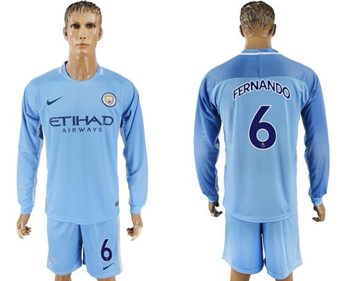 Manchester City #6 Fernando Home Long Sleeves Soccer Club Jersey