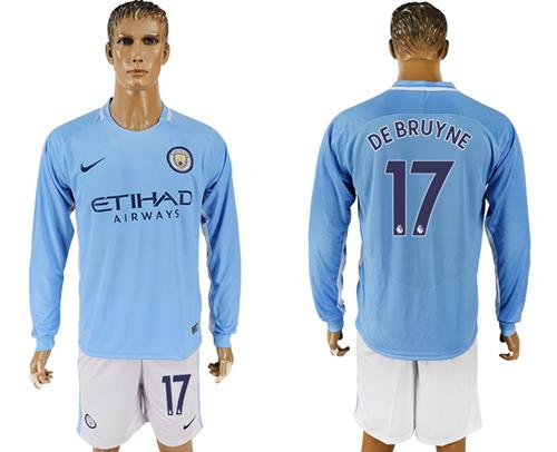 Manchester City #17 De Bruyne Home Long Sleeves Soccer Club Jersey