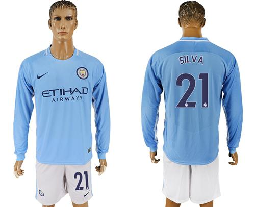 Manchester City #21 Silva Home Long Sleeves Soccer Club Jersey