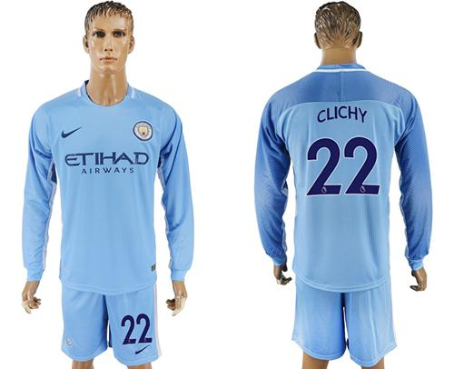 Manchester City #22 Clichy Home Long Sleeves Soccer Club Jersey
