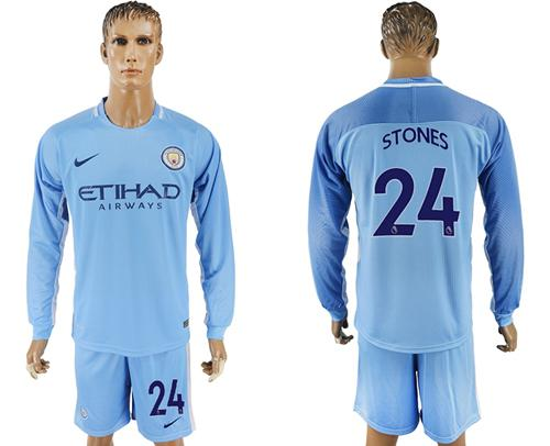 Manchester City #24 Stones Home Long Sleeves Soccer Club Jersey