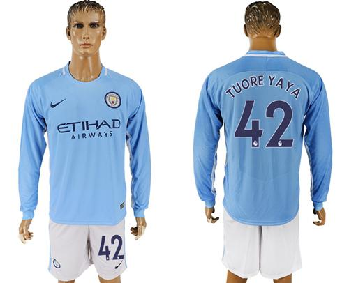 Manchester City #42 Toure Yaya Home Long Sleeves Soccer Club Jersey