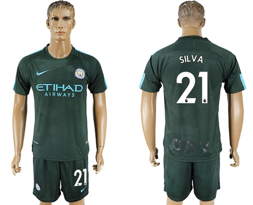 Manchester City #21 Silva Sec Away Soccer Club Jersey