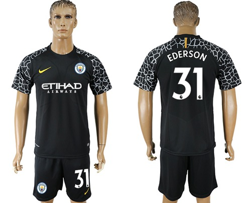 Manchester City #31 Ederson Black Goalkeeper Soccer Club Jersey