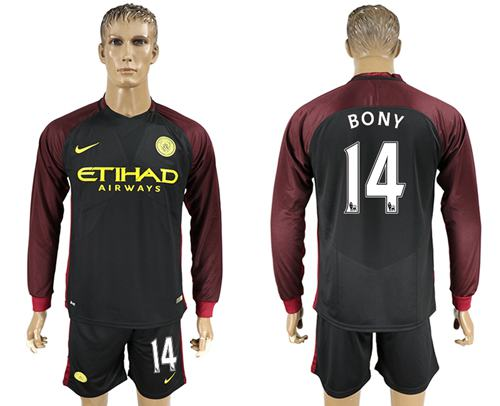 Manchester City #14 Bony Away Long Sleeves Soccer Club Jersey