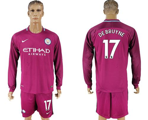 Manchester City #17 De Bruyne Away Long Sleeves Soccer Club Jersey