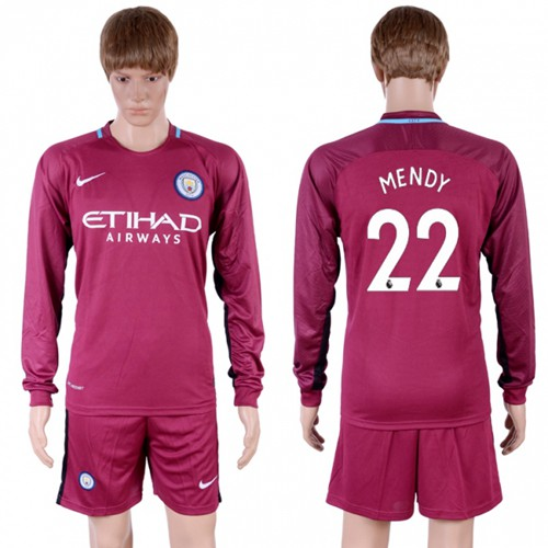 Manchester City #22 Mendy Away Long Sleeves Soccer Club Jersey